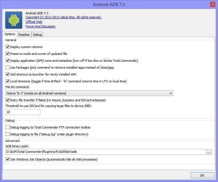 Как работать с дополнением ADB plugin для Тотала