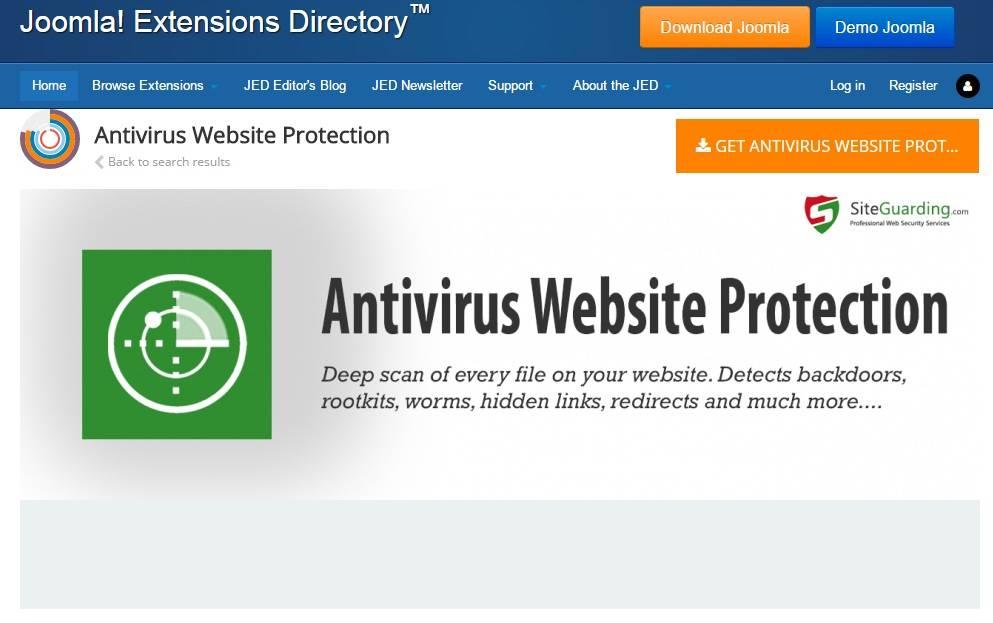 Antivirus Website Protection joomla