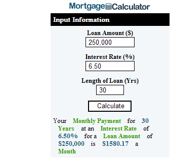 Mortgage Calculator Sidebar Widget